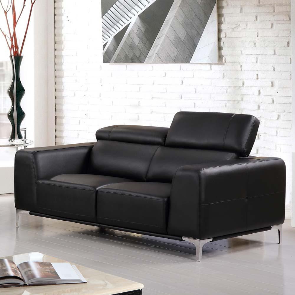 希爾頓黑皮沙發– 雙人座
