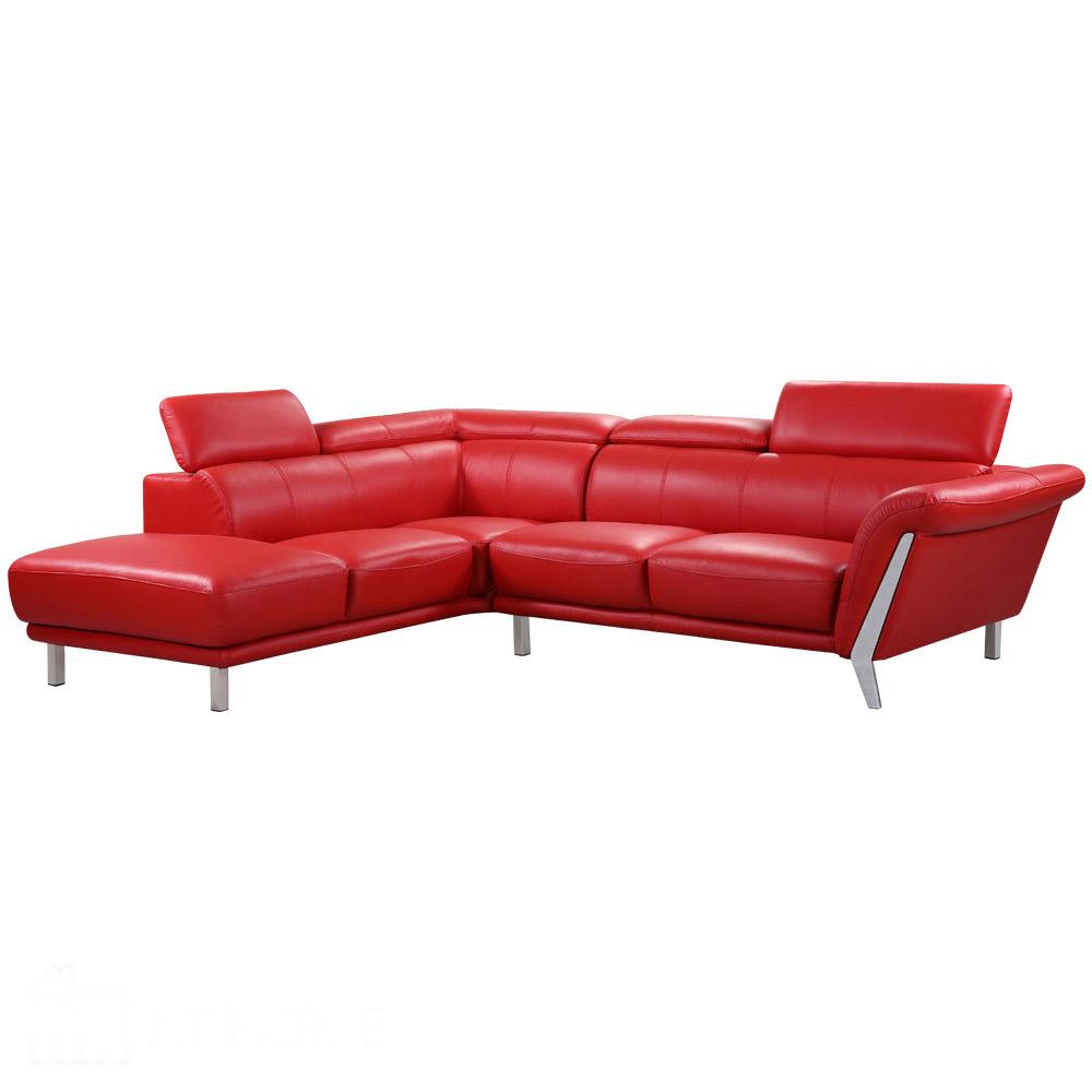 詹姆士L 型紅皮沙發─右L