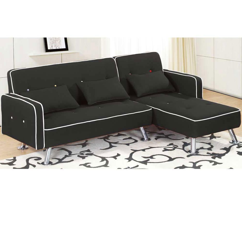 艾曼達L 型黑皮沙發—左L