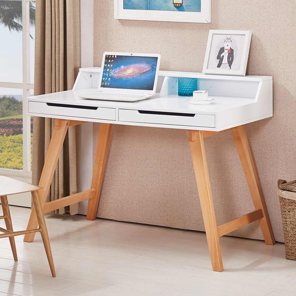 海倫3.6尺白色雙層二抽書桌
