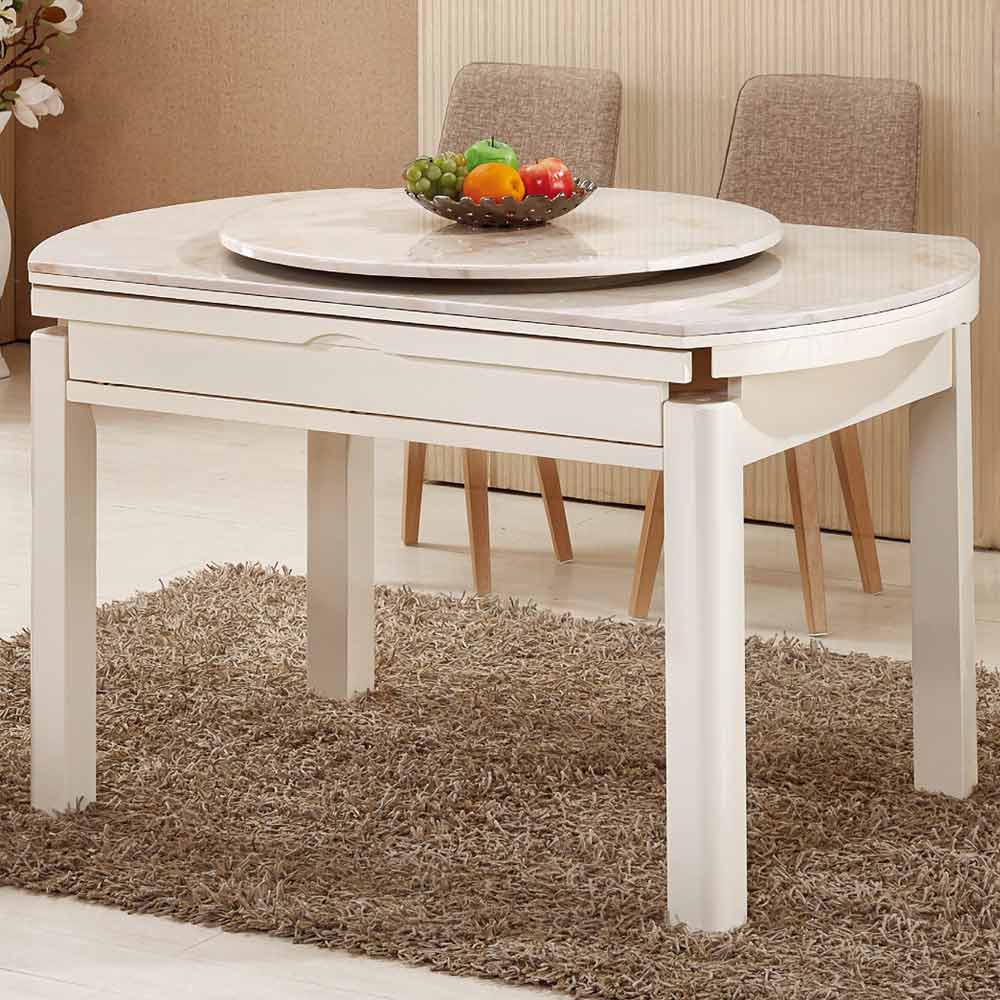 團圓白色橢圓原石摺桌