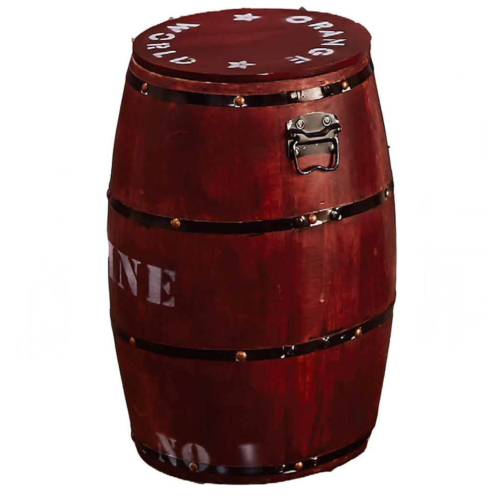 木桶收納椅凳-紅色