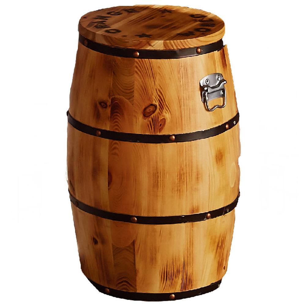 木桶收納椅凳-原木色