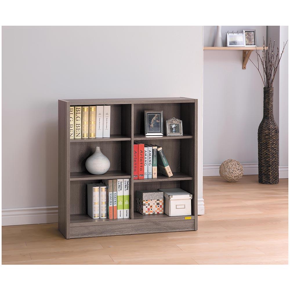 康迪仕深木色六格寬書櫃