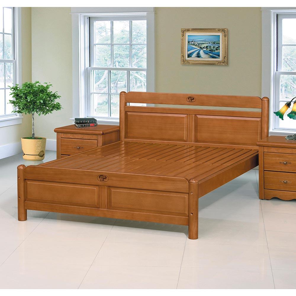 卡洛斯5尺柚木色雙人床組(實木床板)