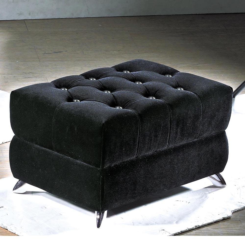辛妮黑絨水鑽單人腳凳