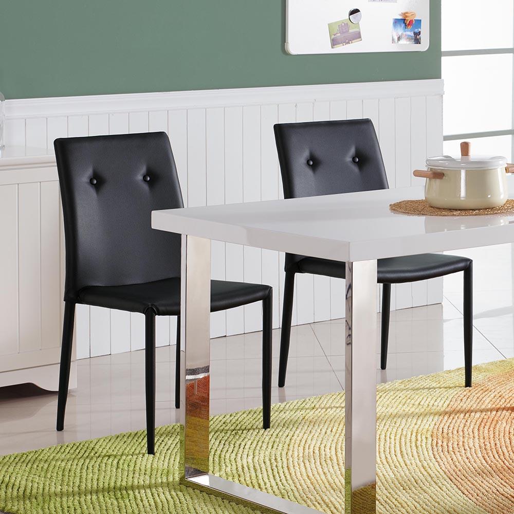 水晶晶黑皮餐椅