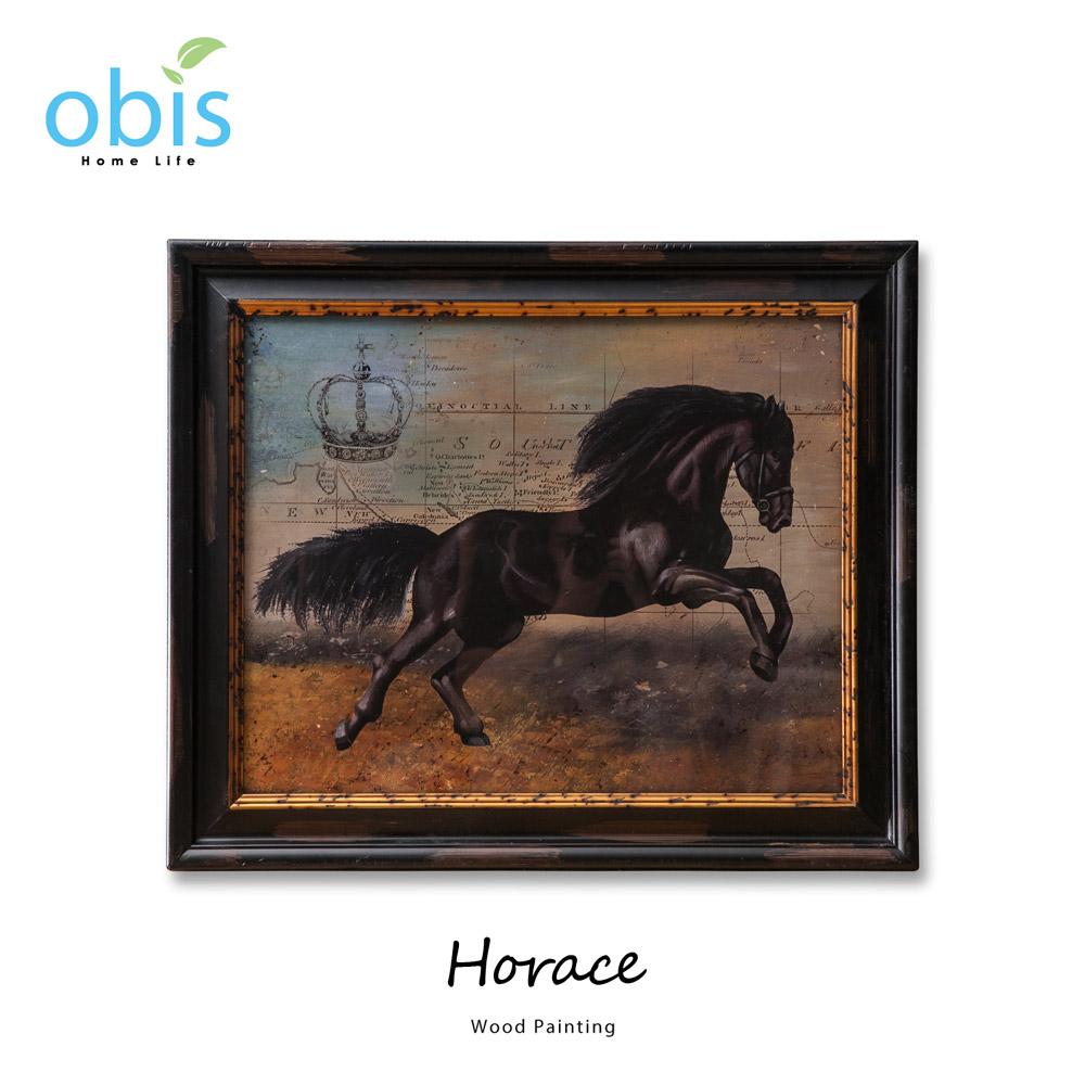 Horace駿馬奔騰復古風木板畫/預購