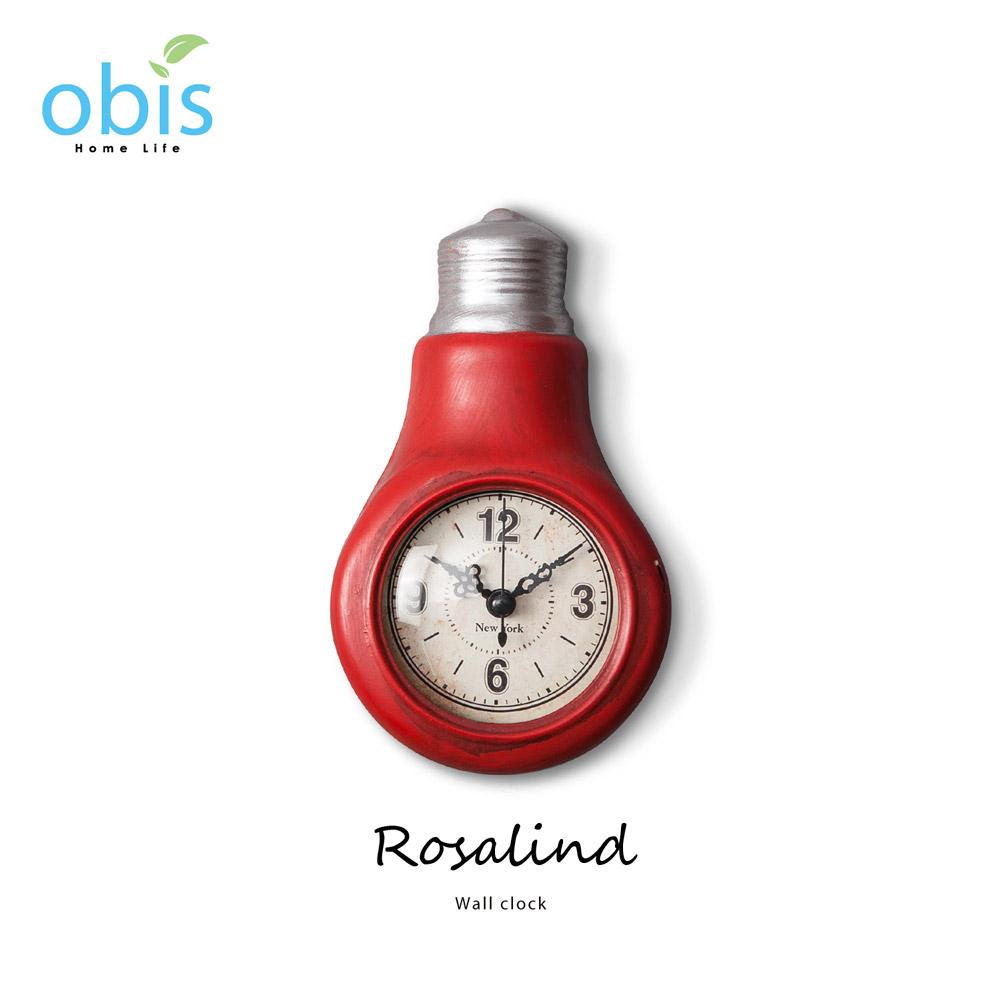 Rosalind紅色燈泡工業風壁掛鐘/預購