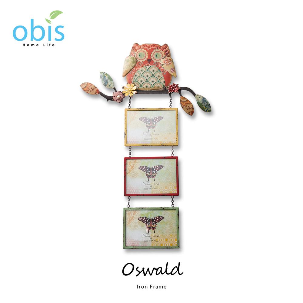 Oswald貓頭鷹鄉村風壁飾相框/預購