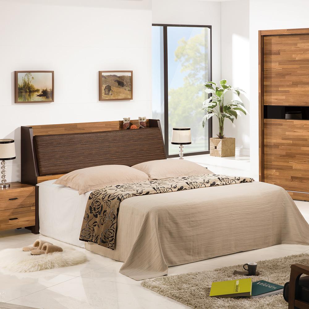 巴菲特5尺雙人床組-床頭箱+三分床底