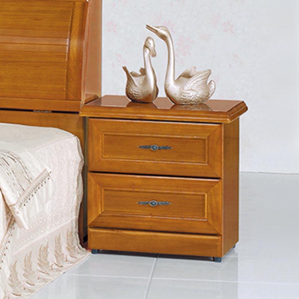 實木樟木色床頭櫃