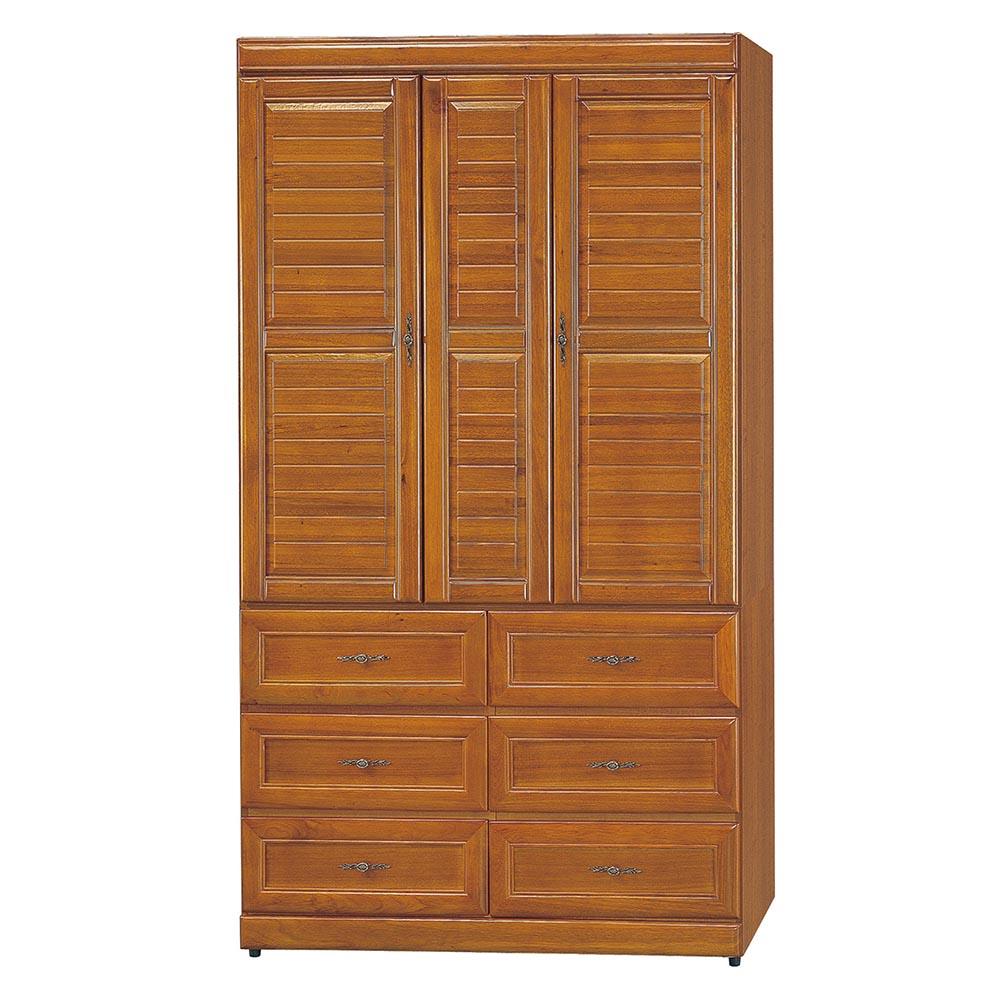 樟木色4X7尺實木衣櫥