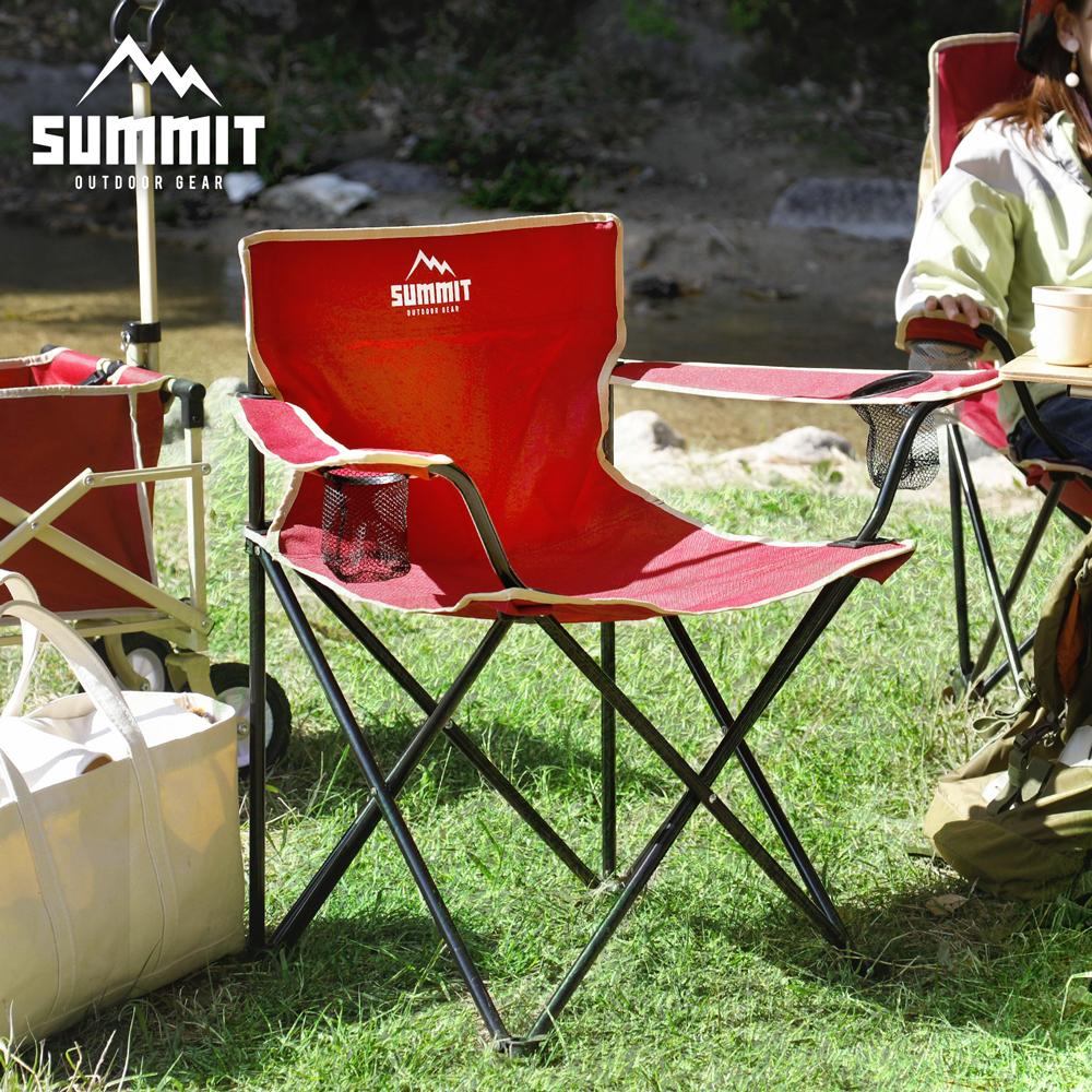 戶外輕巧摺疊椅/露營折疊椅-紅色