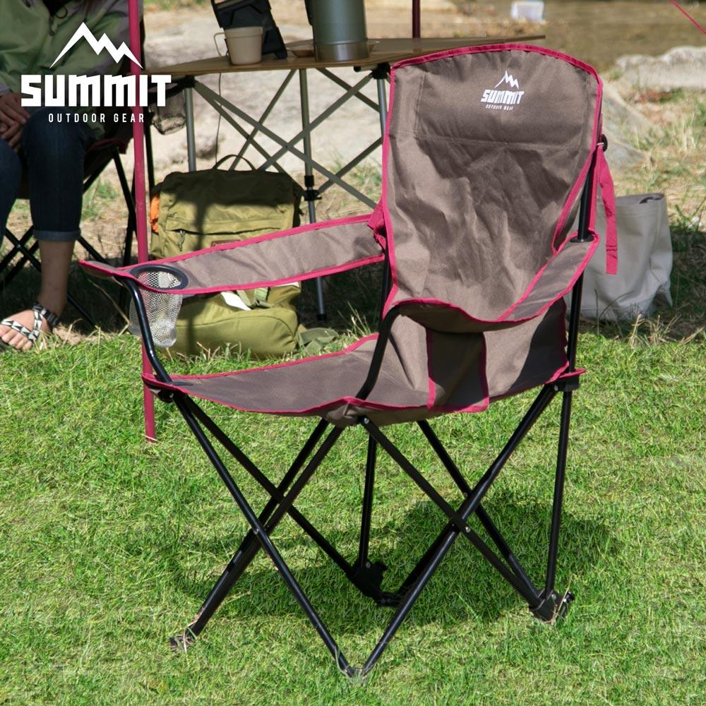 戶外系列高椅背/輕巧摺疊椅/露營折疊椅-咖啡色