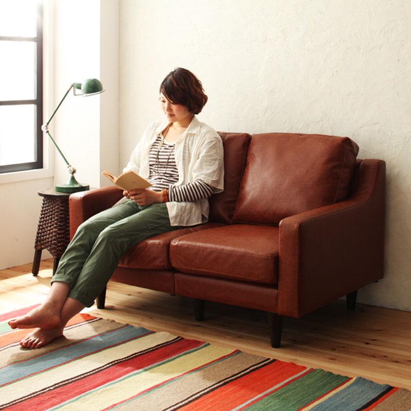 工業風情裂紋皮質雙人沙發-3色