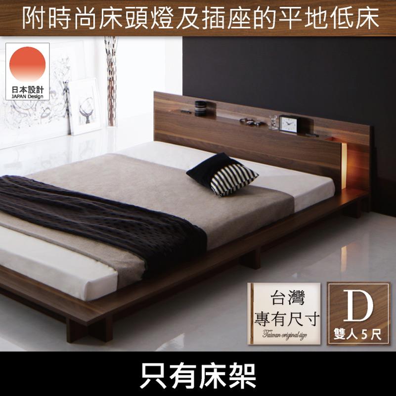 伯靈頓美式簡約胡桃色雙人床組-床頭+床底(DIY自行組裝)