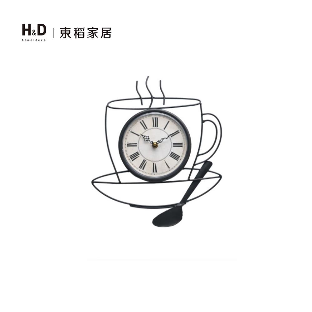鐵藝簍空咖啡杯壁鐘