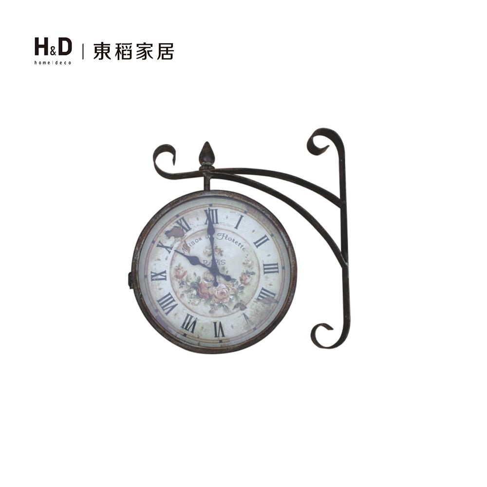 鐵銹雙面壁鐘