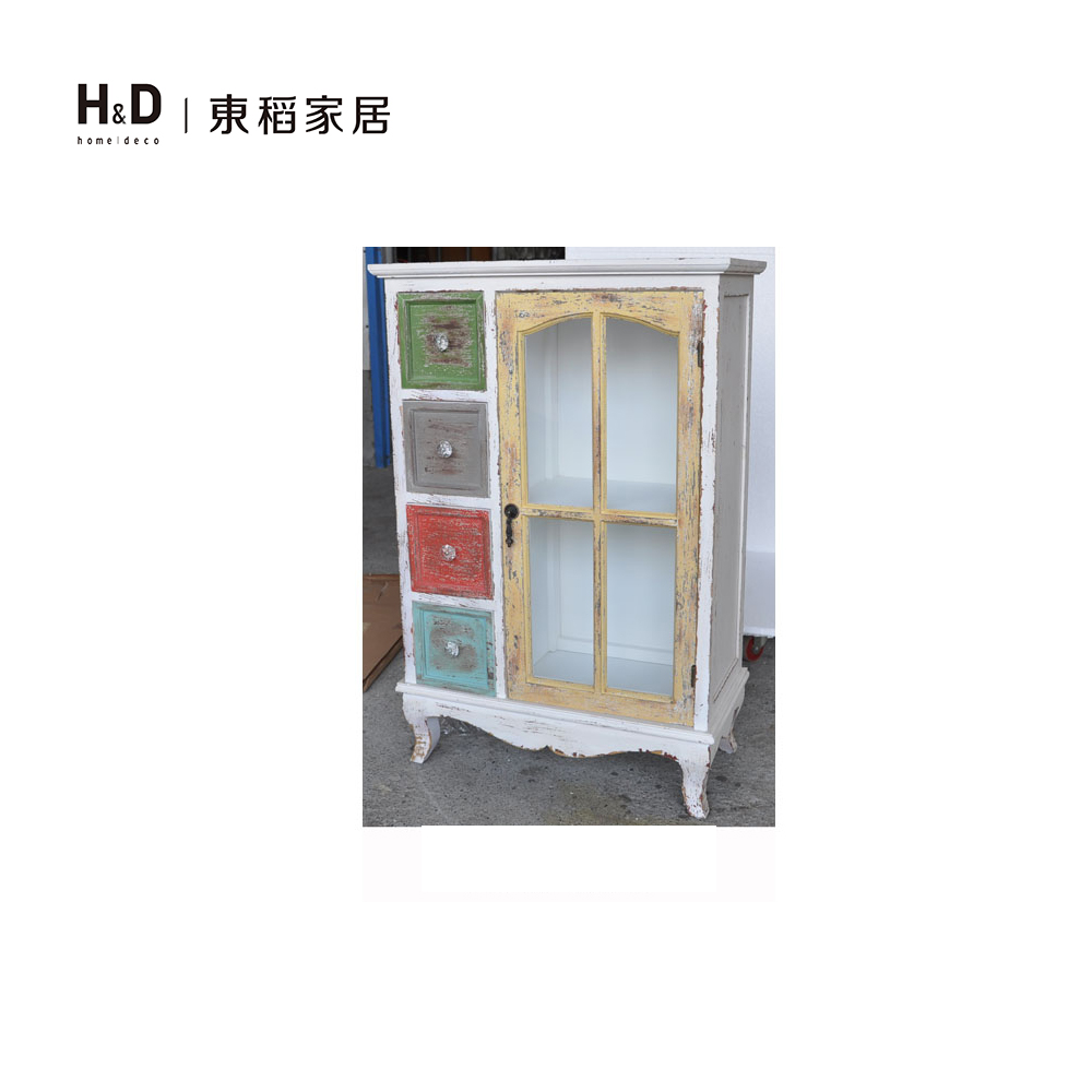 彩色仿舊單門4抽木玄關櫃