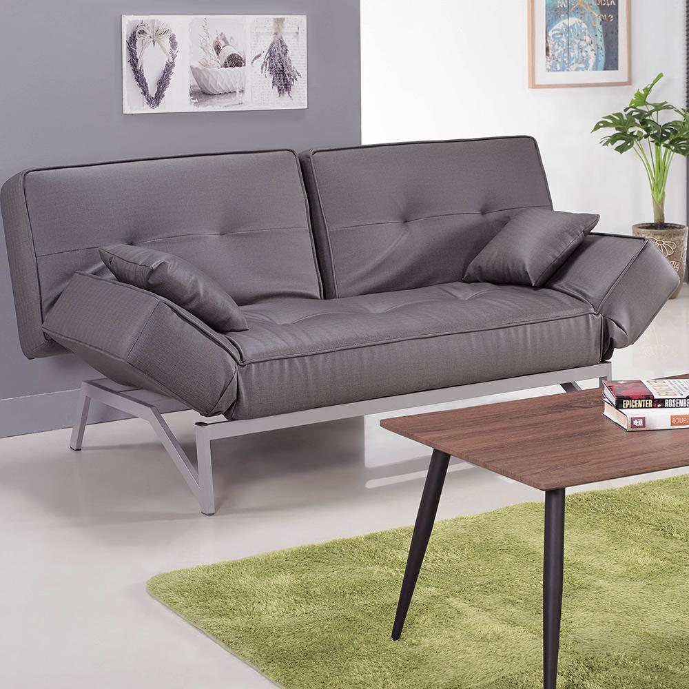 貓抓皮造型沙發床-灰皮