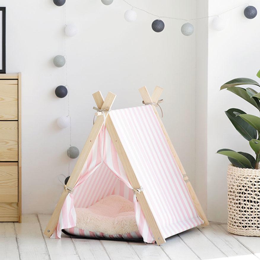 艾希塔寵物帳篷-粉紅條紋