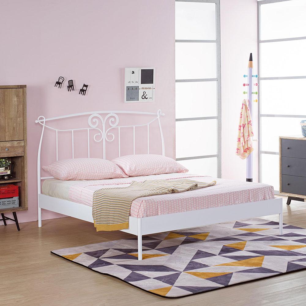 芭特白色5尺鐵床架