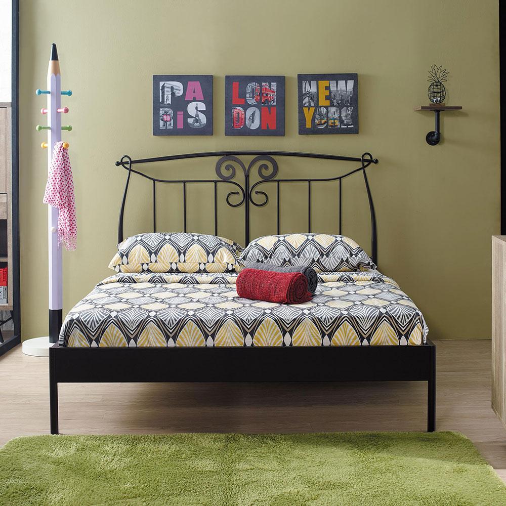 芭特黑色5尺鐵床架