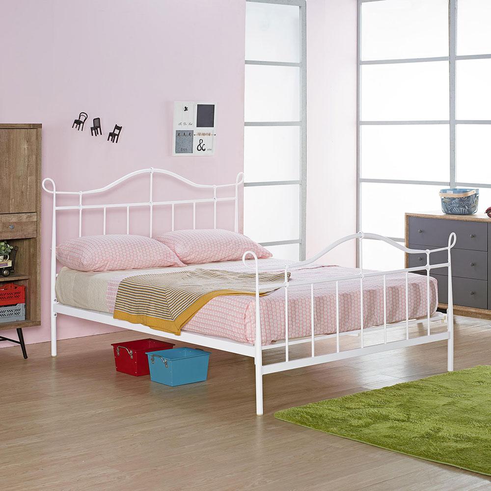 萊恩白色5尺鐵床架