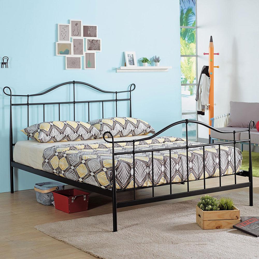 萊恩黑色5尺鐵床架