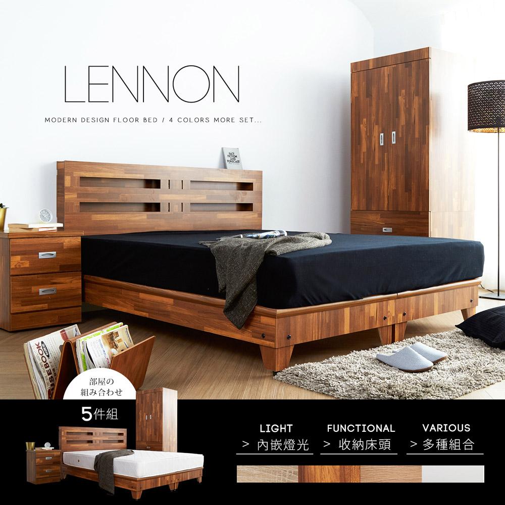 藍儂田園鄉村風系列雙人房間組5件式(床頭+床底+二抽櫃+衣櫃+床墊)-4色