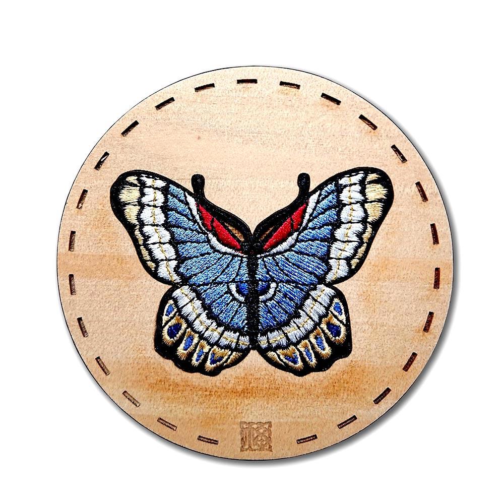 【福來許】粉彩百蝶瓶系列杯墊-藍蝶