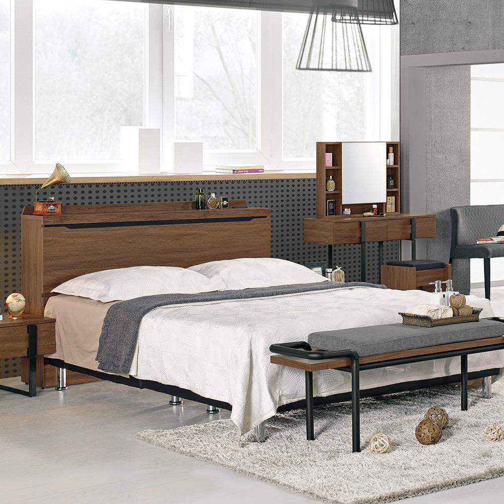 伯恩斯5尺被櫥式雙人床組(床頭箱+床底)