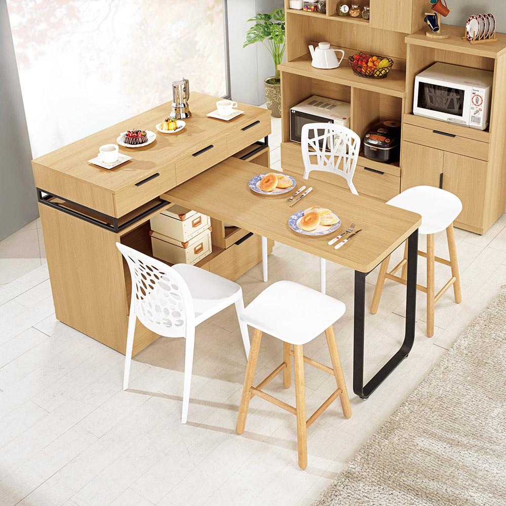 達拉斯4尺中島型多功能餐桌櫃