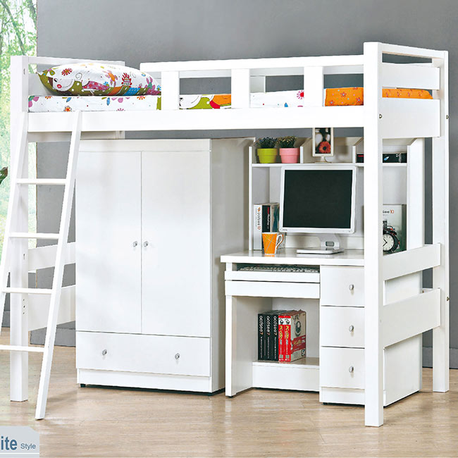 佐伊白色高架床組/含衣櫃 書桌(15CS3/489-1)